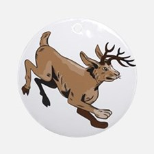 Jacklope Jumping Side Etching Round Ornament