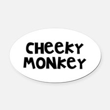 Cheeky Monkey Oval Car Magnet