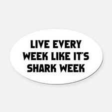 Live Shark Week Oval Car Magnet