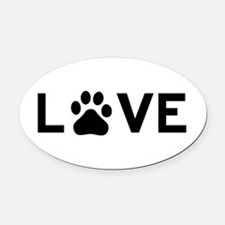Love Paw Oval Car Magnet