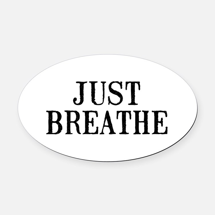 Just Breathe Oval Car Magnet