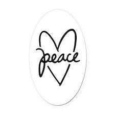 Peace Heart Oval Car Magnet