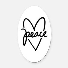 Peace Heart Oval Car Magnet
