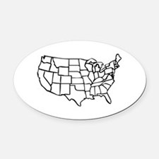 US Map Oval Car Magnet