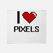 I Love Pixels Digital Design Throw Blanket