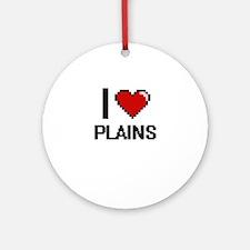 I Love Plains Digital Design Round Ornament