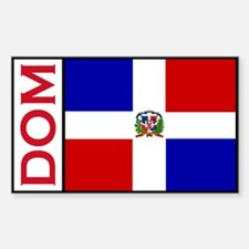 Dominican Republic Flag stick Sticker (Rectangular