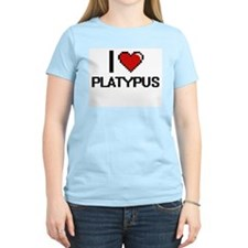I Love Platypus Digital Design T-Shirt