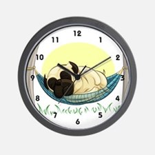 Pug in a Hammock Wall Clock
