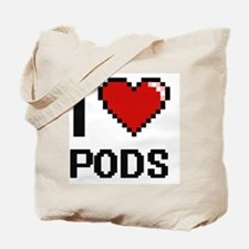 I Love Pods Digital Design Tote Bag