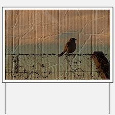 farm fence landscape bird Yard Sign
