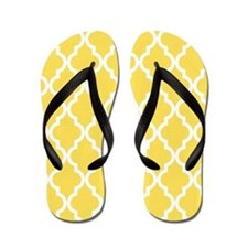 Canary Yellow Moroccan Pattern Flip Flops