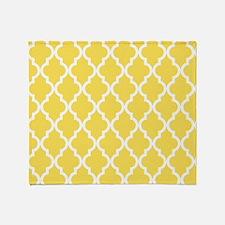 Yellow, Canary: Quatrefoil Moroccan Throw Blanket