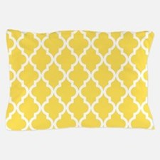 Yellow, Canary: Quatrefoil Moroccan Pa Pillow Case