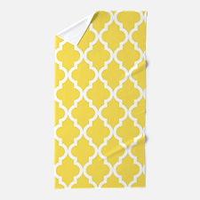 Yellow, Canary: Quatrefoil Moroccan Pa Beach Towel