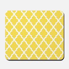 Yellow, Canary: Quatrefoil Moroccan Patt Mousepad