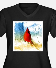watercolor winter red cardinal Plus Size T-Shirt
