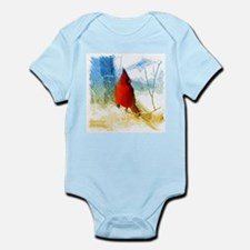 watercolor winter red cardinal Body Suit