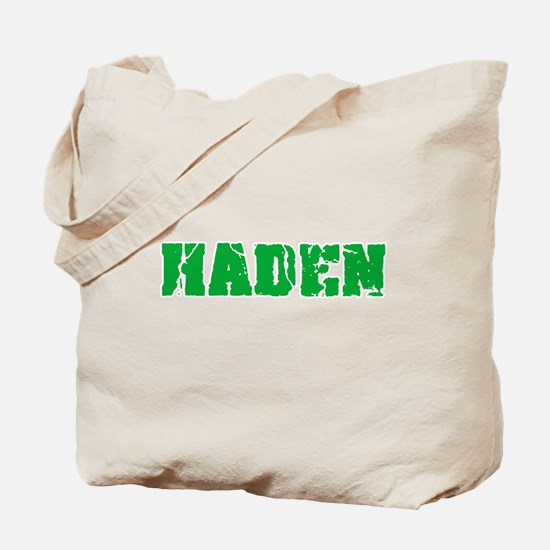 Haden Name Weathered Green Design Tote Bag