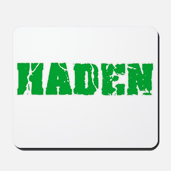 Haden Name Weathered Green Design Mousepad