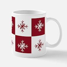 Checkered Christmas Red Snowflakes Patt Mug