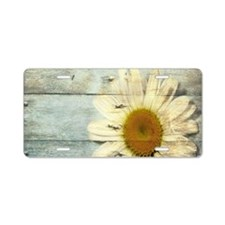 shabby chic country daisy Aluminum License Plate