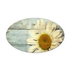 shabby chic country daisy Oval Car Magnet