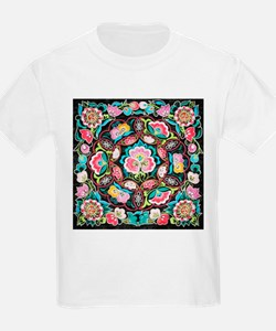 turquoise pink flowers bohemian T-Shirt