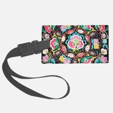 turquoise pink flowers bohemian Luggage Tag