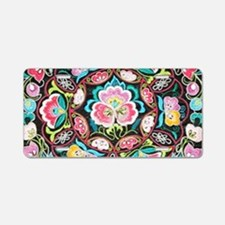 turquoise pink flowers bohe Aluminum License Plate