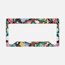 turquoise pink flowers bohemi License Plate Holder