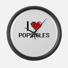 I Love Popsicles Digital Design Large Wall Clock