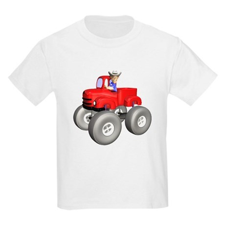 Red Monster Truck Kids Light T-Shirt