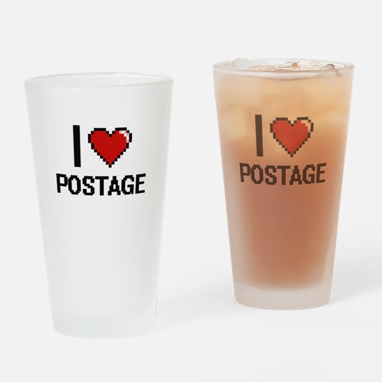 I Love Postage Digital Design Drinking Glass