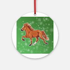 Cute Icelandic horse Round Ornament