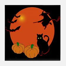 Harvest Moon Halloween Tile Coaster