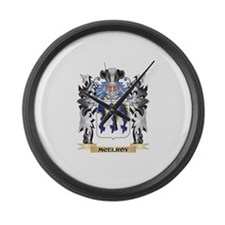 Mcelroy Coat of Arms - Family Cre Large Wall Clock