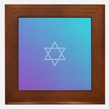 Teal Purple Star of David Framed Tile