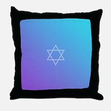 Teal Purple Star of David Throw Pillow