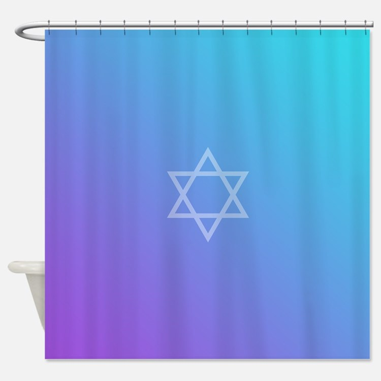 Teal Purple Star of David Shower Curtain