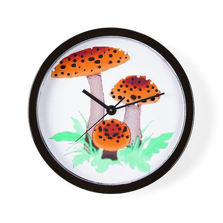Orange Mushrooms Wall Clock