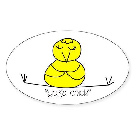 """Yoga Chick"" Oval Sticker"