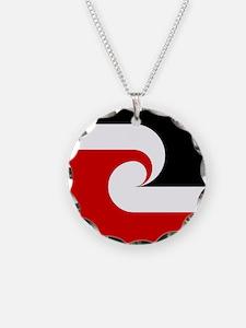Maori Flag Necklace Circle Charm