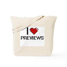 I Love Previews Digital Design Tote Bag