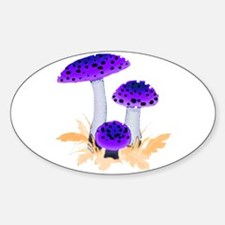 Purple Mushrooms Oval Decal