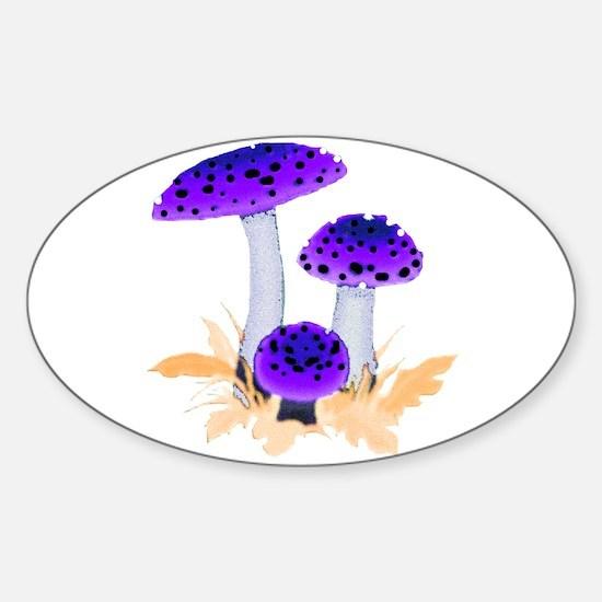 Purple Mushrooms Oval Decal