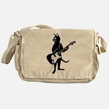 Cat Playing The Electric Guitar Messenger Bag