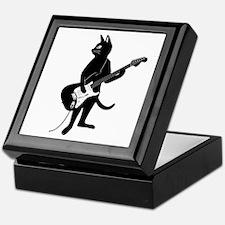 Cat Playing The Electric Guitar Keepsake Box
