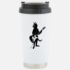 Cat Playing The Electric Guitar Travel Mug