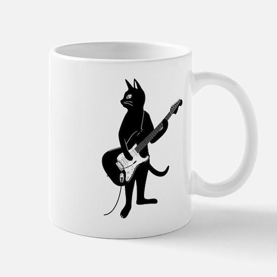Cat Playing The Electric Guitar Mugs